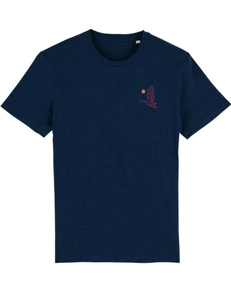 Flying Mallard Embroidered Organic Tee (Pink Red Stitch)