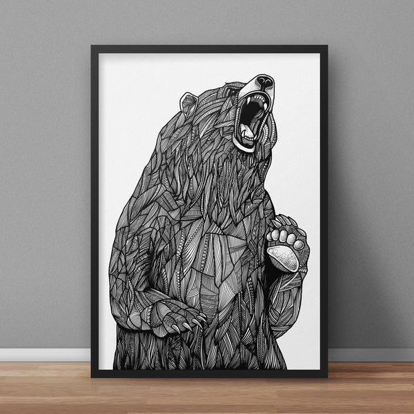 Grizzly Bear A3 Print - Supreme Elements