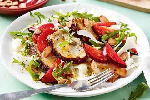Plum and spiced chicken salad