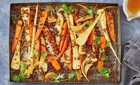Sweet spiced carrot and parsnip tray bake