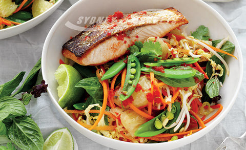 THAI VEGETABLE, POMELO & SALMON SALAD