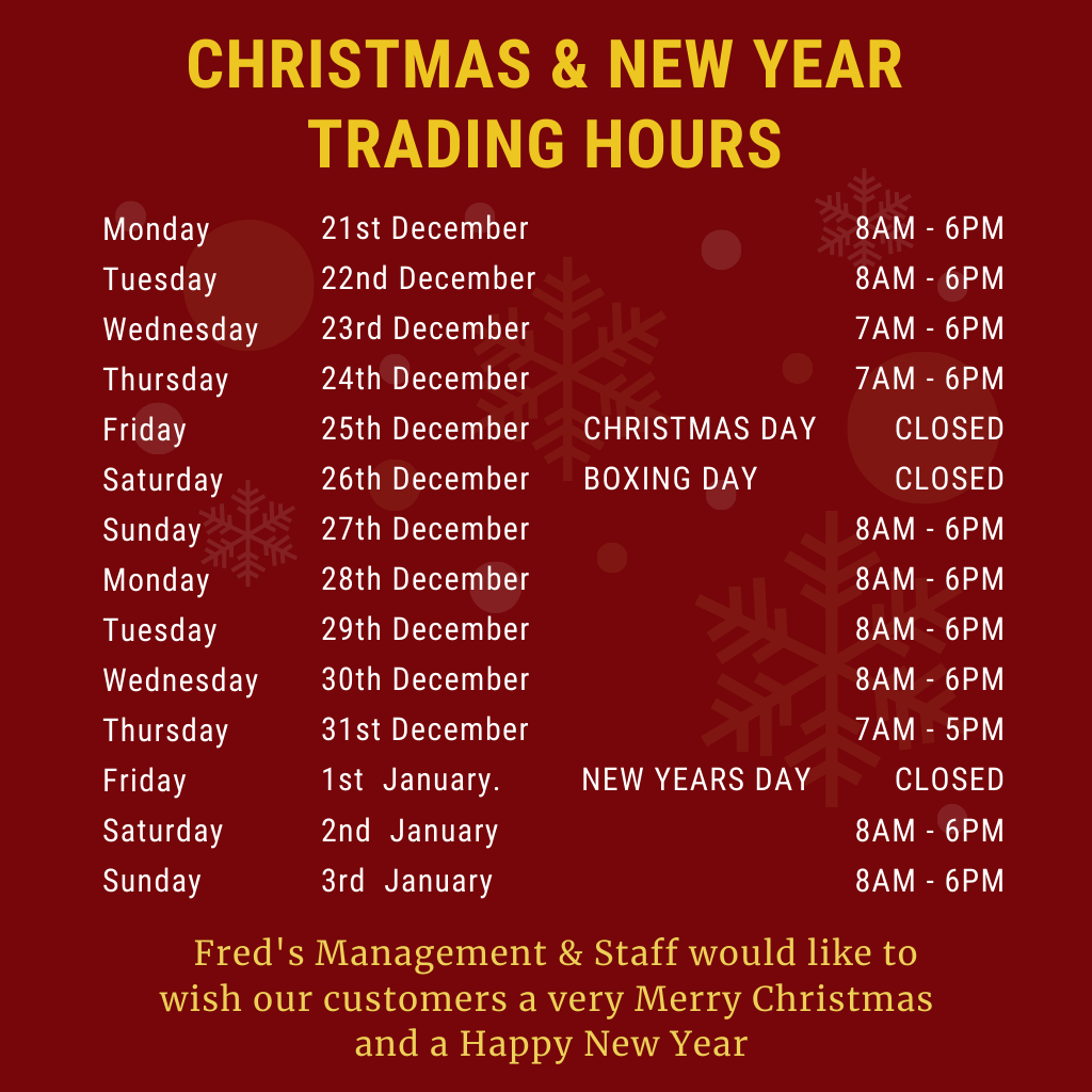 CHRISTMAS & NEW YEAR'S TRADING HOURS