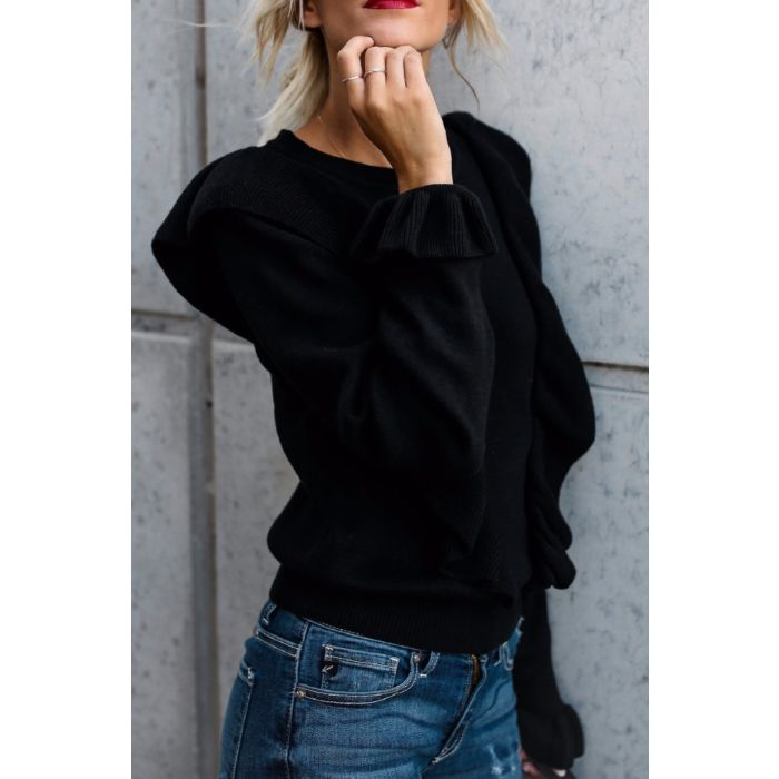 Good Life Black Ruffle Sweater