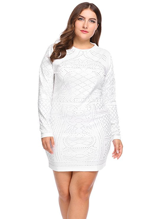 Primadonna White Plus Size Bodycon Dress - Saje Boutique