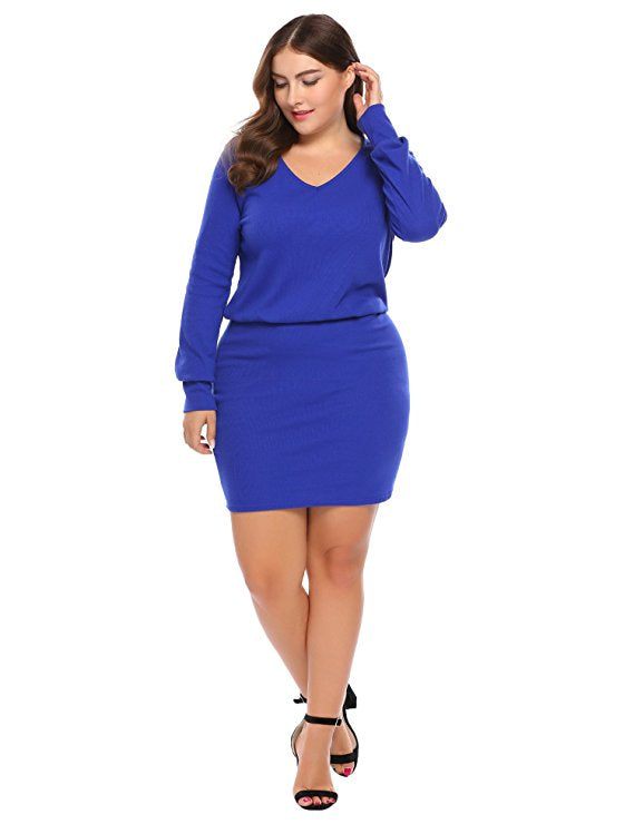 Jaz Blue Plus Size Dress – Saje Boutique