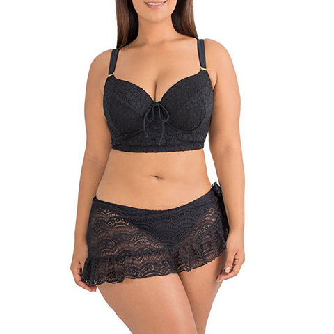 A Lady In Lace Black Plus Size Tankini Top