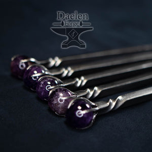 Amethyst Hair Pin (Hand Forged)