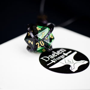 D20 Dragon's Claw Pendant (Black and Green)
