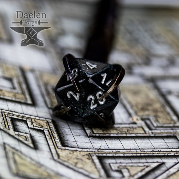 D20 Gamers Wand (Black) - Hand Forged For Critical Success