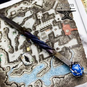 D20 Gamers Wand (Blue) - Hand Forged For Critical Success
