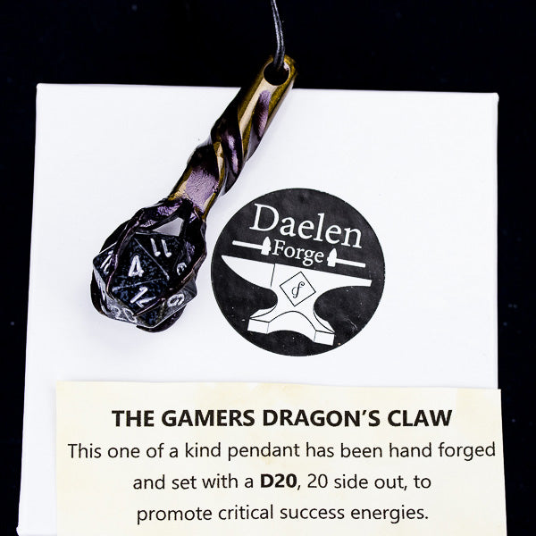 D20 Dragon's Claw Pendant (Black)