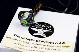 D20 Dragon's Claw Pendant (Black & Green)