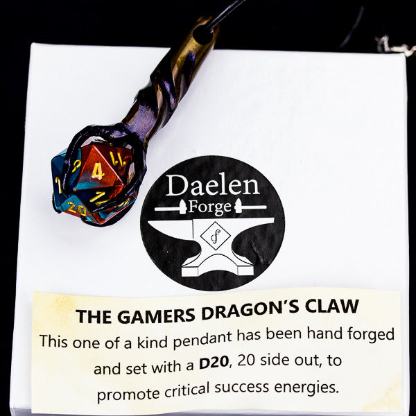 D20 Dragon's Claw Pendant (Blue & Red)