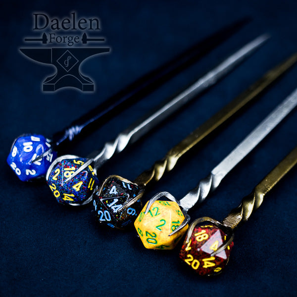 D20 Dice Hairpin - Gamer Hair Sticks for Critical Success