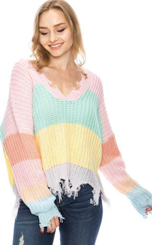 Dreamsicle Frayed Sweater