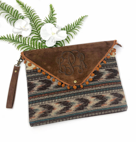 Aztec Pom Pom Clutch - 3 colors