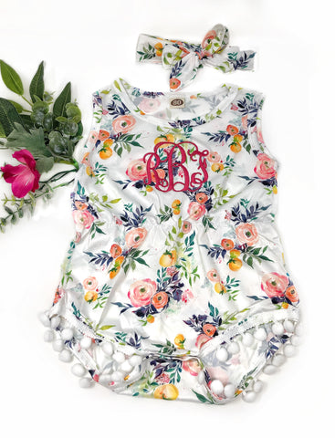 Pocket Full of Posies Pompom Onesie