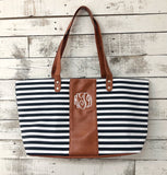 Monogrammed Striped Tote Bag