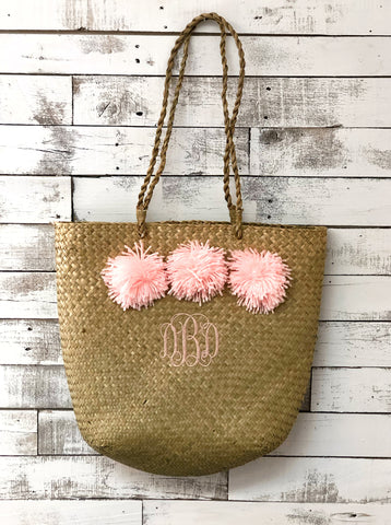 Monogrammed Straw Beach Tote