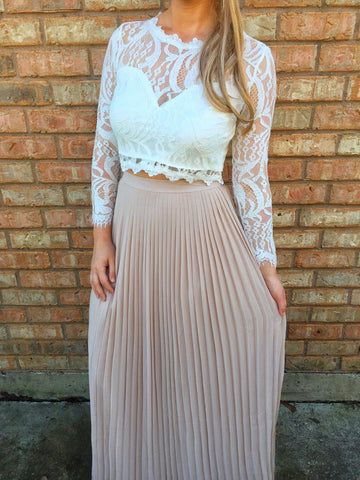 Pleated Blush Maxi Skirt