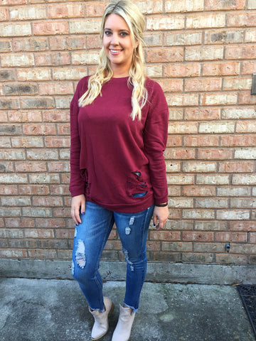 Distressed Sweatshirt- 2 colors