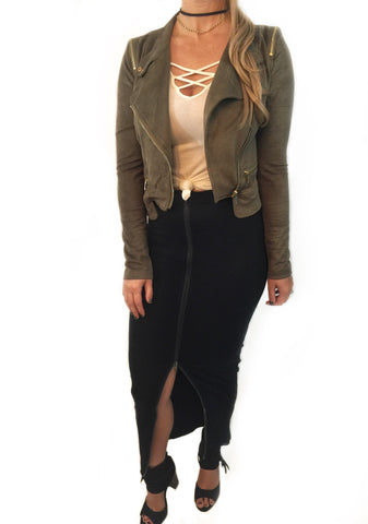 Suede Crop Moto Jacket- 3 colors