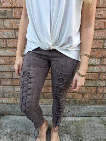 Suede lace-up Leggings