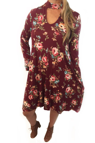 Burgundy Blossom Dress