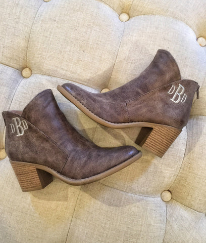 Monogram Taupe Booties