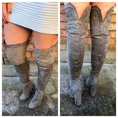 Olive thigh high boots