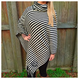 Striped Cowlneck Poncho - 2 colors