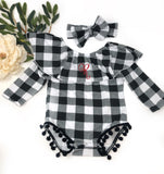 Monogrammed Plaid Onsie with Matching Bow