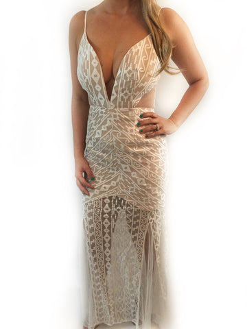 Low cut Runway Lace Maxi