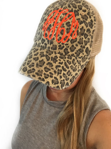 Tan leopard trucker hat