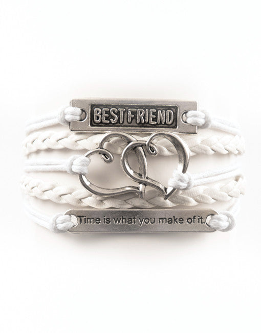 "Best Friend, Hearts, ""Time"" Saying, Bracelet, Modestly"