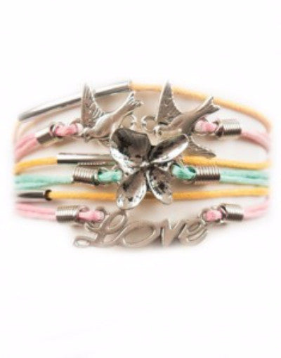 Birds, Flower, Love, Bracelet, Modestly