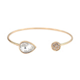 Teardrop Rhinestone Open Bangle, Bangle, Modestly