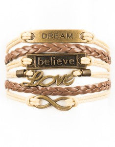 Dream, Believe, Love, Infinity, Bracelet, Modestly
