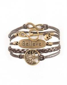 Infinity, Music Note with Skull, Believe, Tree, Bracelet, Modestly