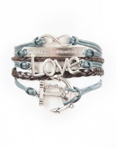 "Infinity, ""Will"" Saying, Love, Anchor, Bracelet, Modestly"