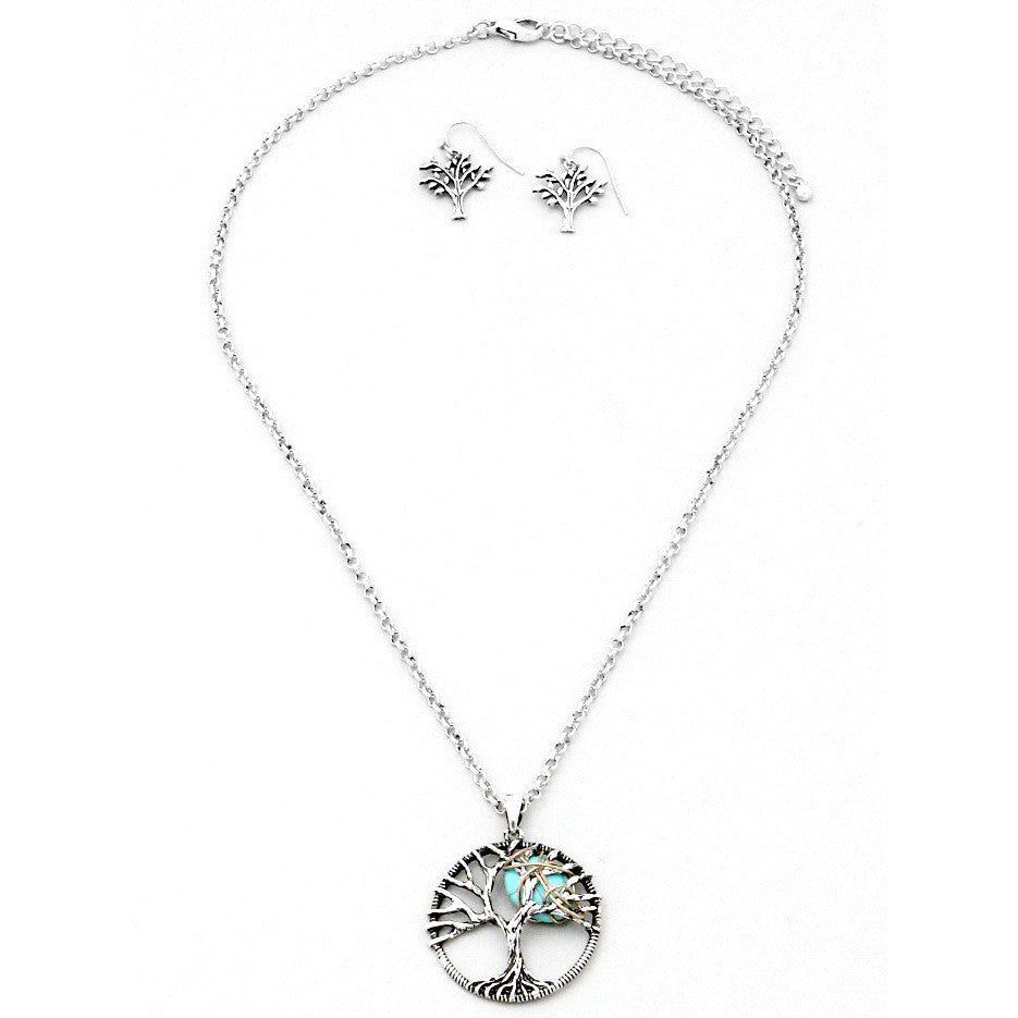 Tree of Life Turquoise Moon Necklace & Earring Set, Sets, Modestly