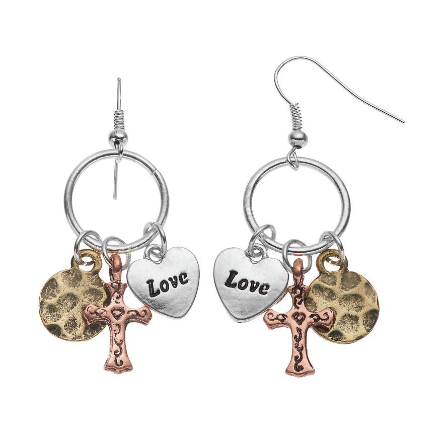 Love & Cross Charm Earring, Earring, Modestly