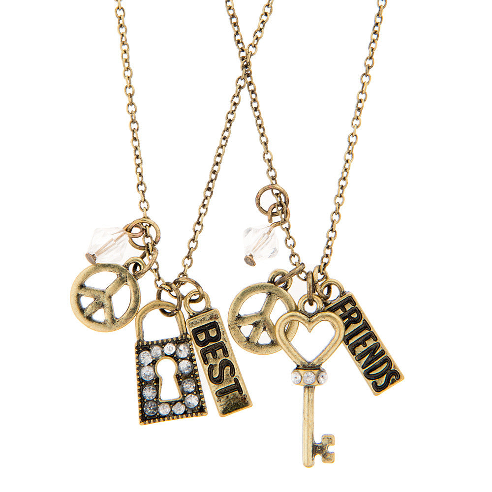 Lock and Key Best Friends - 2 Piece Necklace Set, Necklace, Modestly