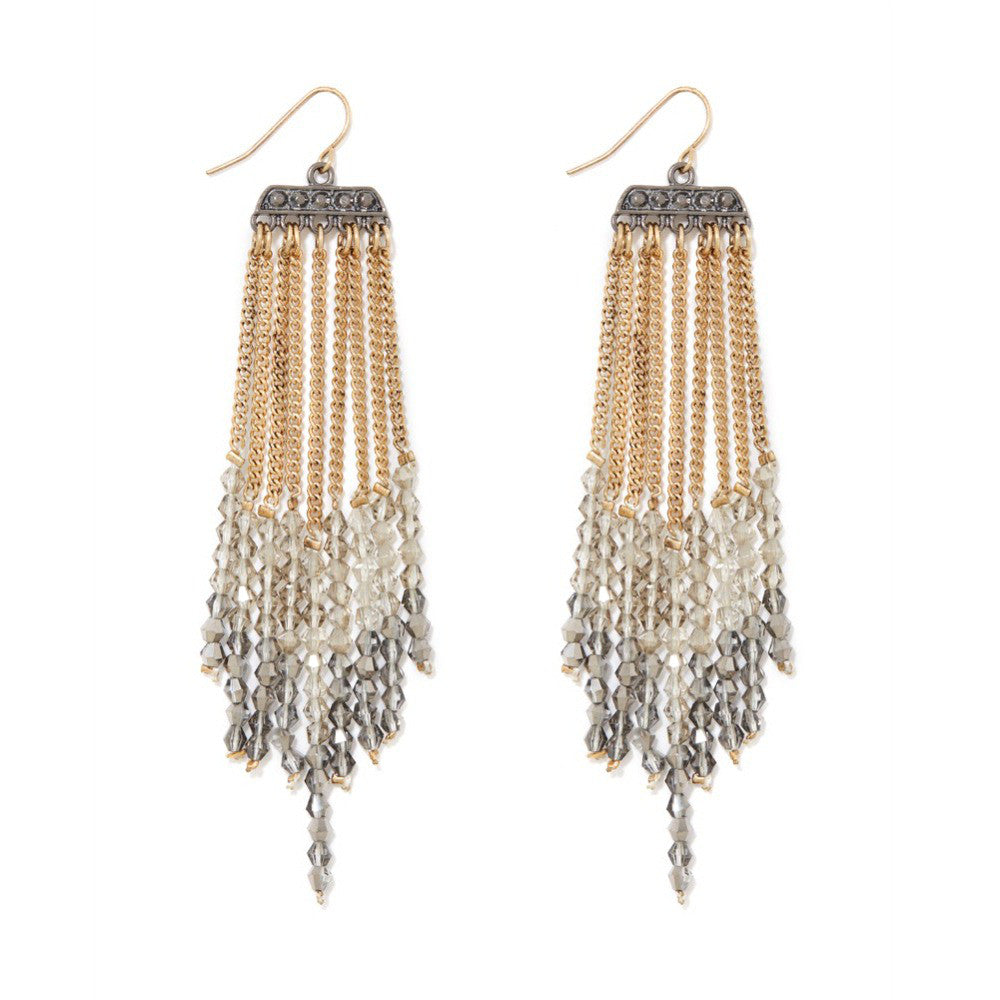 Ombre Crystal Fringe Earrings, Earring, Modestly