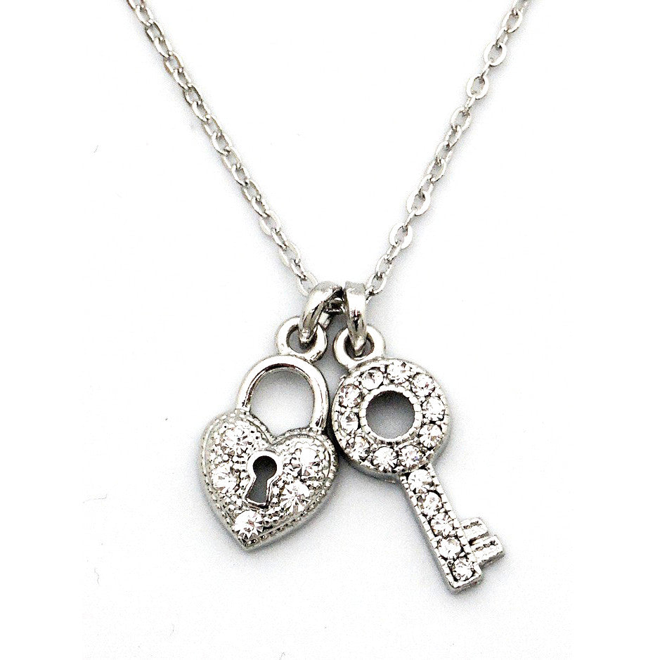 'Pave Lock and Key' Necklace, Necklace, Modestly