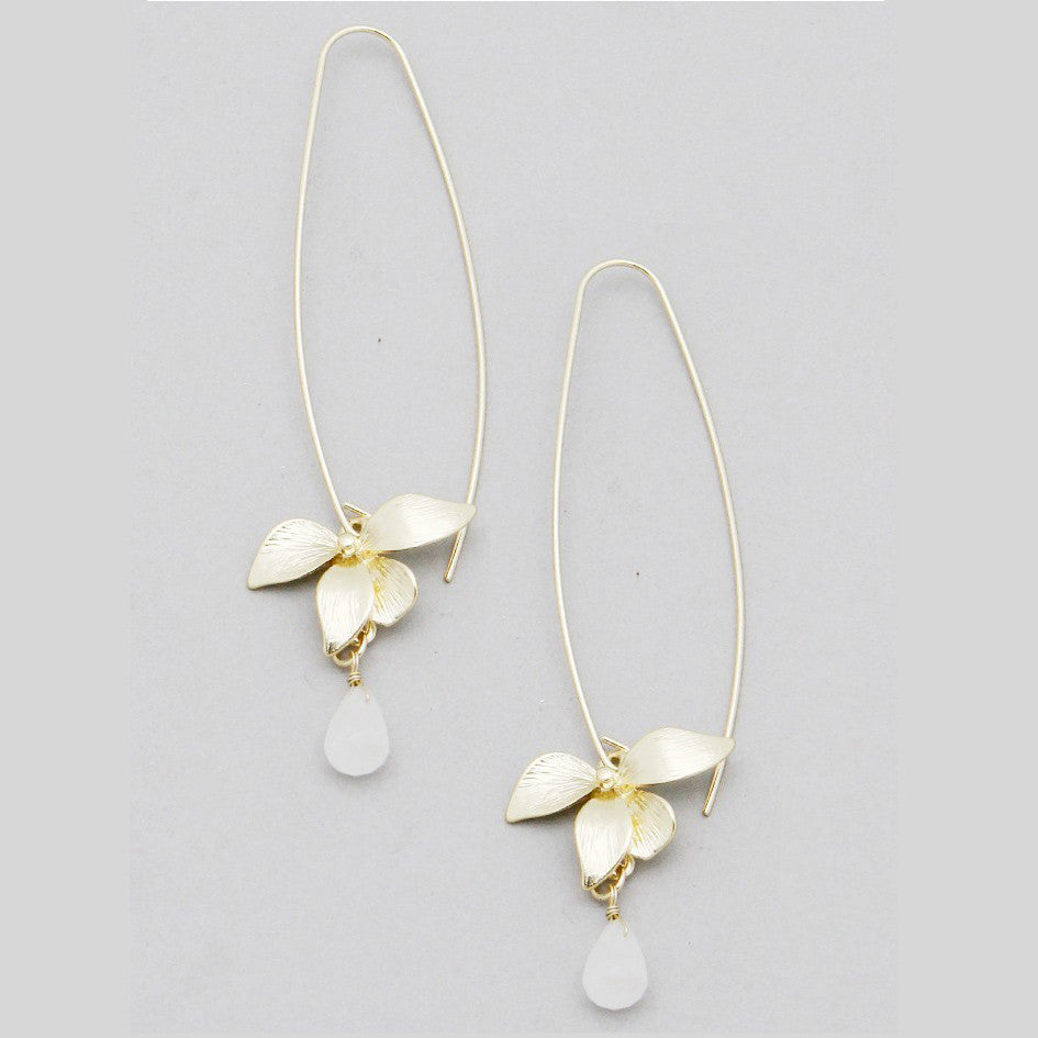 Delicate Flower Teardrop Earrings, Earring, Modestly