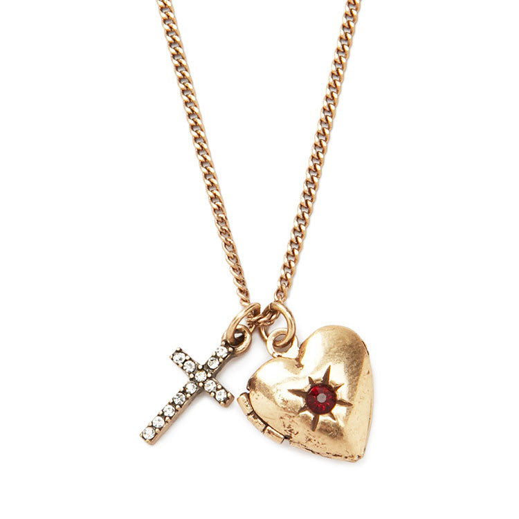 Heart and Cross Locket Necklace, Necklace, Modestly