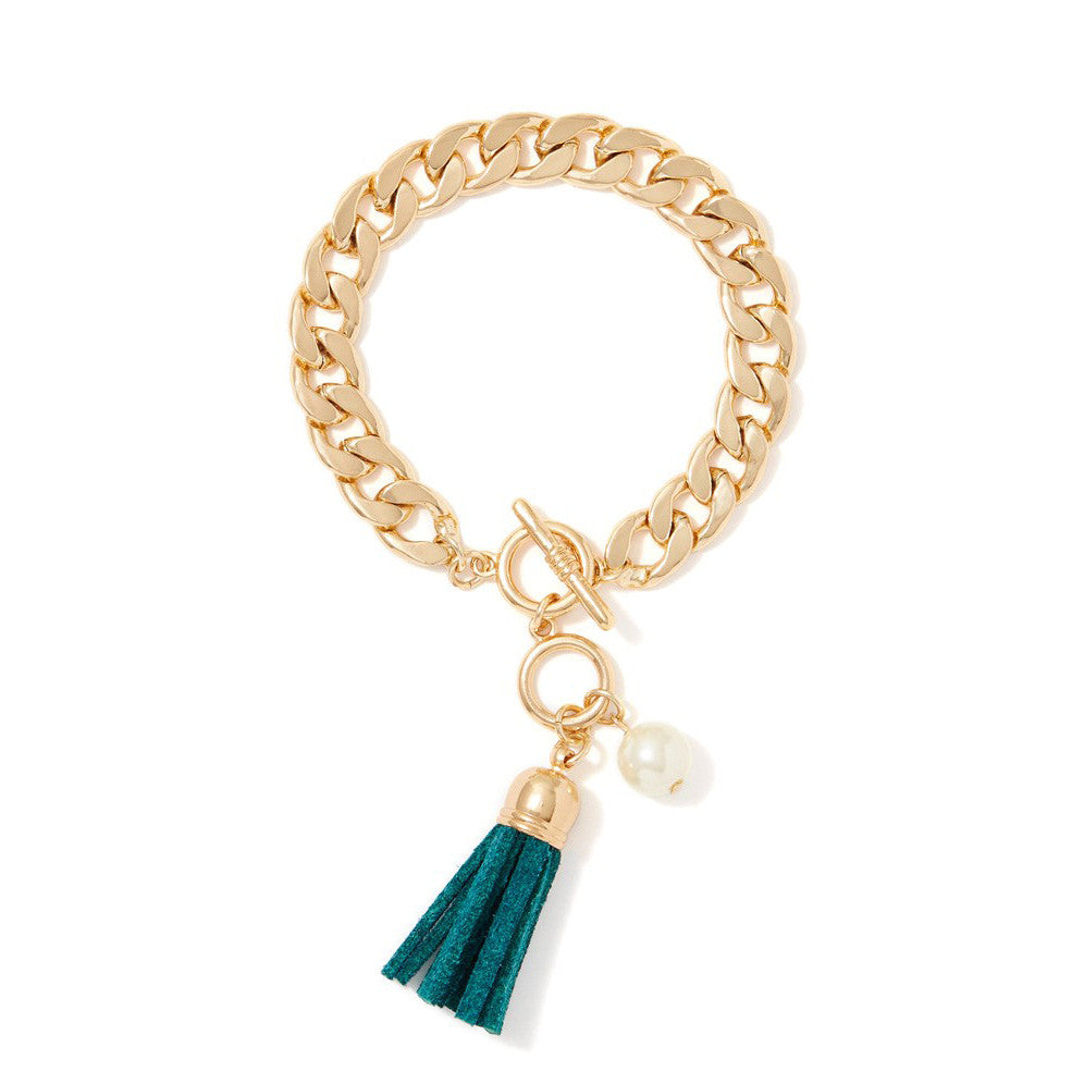 Bold Chain Leather Tassel Bracelet, Bracelet, Modestly