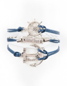 Wheel, Courage, Anchor, Bracelet, Modestly