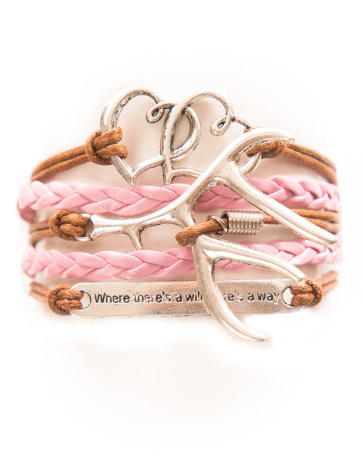 "Double Hearts, Antler, ""Will"" Saying, Bracelet, Modestly"